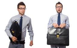 A colagem do homem de negócios isolada no branco imagem de stock