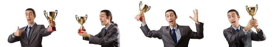 A colagem do homem de negócios que recebe a concessão Fotografia de Stock