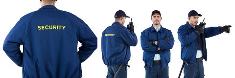 Colagem do homem do agente de segurança fotografia de stock royalty free