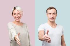 Colagem do homem e da mulher que dão a mão para agitar imagem de stock royalty free