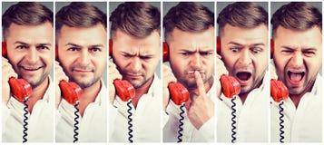 Colagem do homem que fala no telefone fotografia de stock
