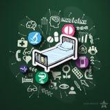 Colagem do hospital com ícones no quadro-negro Fotos de Stock Royalty Free