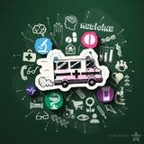 Colagem do hospital com ícones no quadro-negro Imagens de Stock Royalty Free
