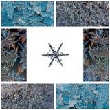 Colagem do inverno de fotos macro dos flocos de neve em um fundo branco e de testes padrões gelados no vidro Fotografia de Stock