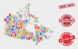 Colagem do mapa de Canadá da eleição e de melhor Bud Stamp Seal riscado ilustração do vetor