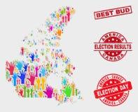 Colagem do mapa de Canadá V2 do voto e de melhor Bud Stamp riscado ilustração stock