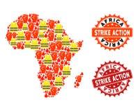 Colagem do mapa do protesto de Gilet Jaunes de selos da ação de África e de greve ilustração do vetor