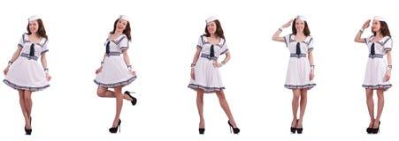 A colagem do marinheiro da mulher isolada no branco Imagem de Stock