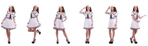 A colagem do marinheiro da mulher isolada no branco Fotos de Stock Royalty Free