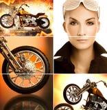 Colagem do motociclista fotografia de stock