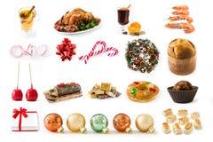 Colagem do Natal: Alimento do Natal e ornamento do Natal imagem de stock royalty free