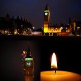 Colagem do Natal de Londres e do ano novo Fotos de Stock Royalty Free