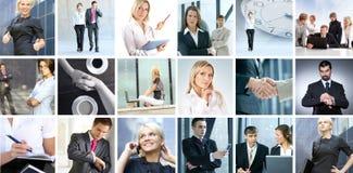 Colagem do negócio das imagens com povos imagem de stock