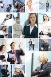 Colagem do negócio feita de retratos do negócio fotos de stock