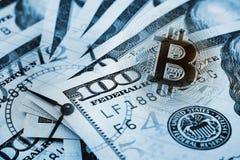 Colagem do negócio no assunto do bitcoin Fotografia de Stock Royalty Free