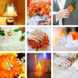 Colagem das fotos do casamento fotos de stock royalty free