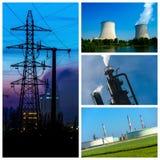 Colagem do poder e os conceitos e os produtos da energia imagens de stock