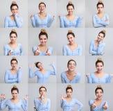 Colagem do retrato da menina com expressões faciais diferentes imagem de stock royalty free