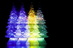 Colagem do ` s do ano novo, árvores de Natal de vidro coloridas, abstração, Imagens de Stock Royalty Free