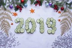 Colagem do ` s do ano novo, estilo de vida saudável, figuras do pepino, sp Foto de Stock