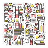 Colagem do salão de beleza da mulher Ferramentas e cosméticos ilustração stock