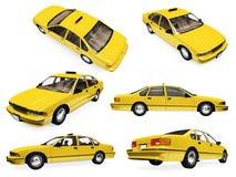 Colagem do táxi amarelo isolado Fotos de Stock Royalty Free