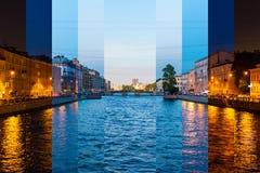 colagem do Tempo-lapso das fatias de horas do dia diferentes foto de stock royalty free