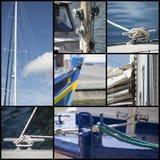 Colagem do tiro do detalhe de veleiros do iate Foto de Stock Royalty Free