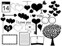 Colagem do vetor do dia de Valentim Fotos de Stock Royalty Free