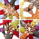 Colagem dos adolescentes felizes que penduram para fora junto fotos de stock