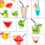 Colagem dos cocktail Imagens de Stock Royalty Free