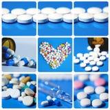 Colagem dos comprimidos medicina Fotos de Stock Royalty Free