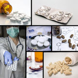Colagem dos comprimidos Medicina e saúde Imagens de Stock Royalty Free