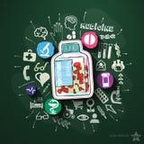 Colagem dos cuidados médicos com ícones no quadro-negro Fotografia de Stock