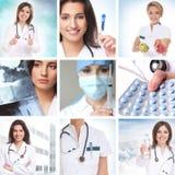 Colagem dos cuidados médicos feita de alguns retratos Imagens de Stock Royalty Free