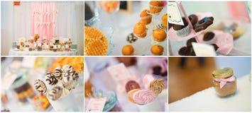Colagem dos doces do casamento Fotografia de Stock