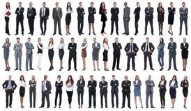 Colagem dos executivos novos que estão em seguido imagens de stock