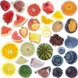 Colagem dos frutos (tamanho do ícone) isolada no branco Imagem de Stock