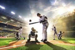 Colagem dos jogadores de beisebol profissionais na arena grande Fotografia de Stock Royalty Free