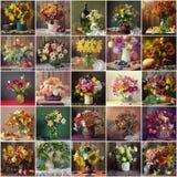 Colagem dos lifes imóveis com os ramalhetes de flores cultivadas Imagem de Stock