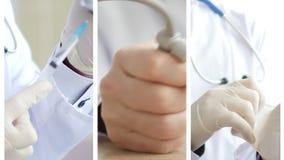 Colagem dos médicos que analisam e que explicam alguns resultados filme
