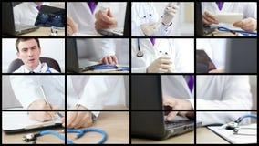 Colagem dos médicos que analisam e que explicam alguns resultados video estoque