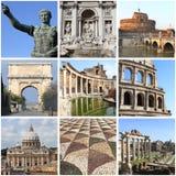Colagem dos marcos de Roma Fotografia de Stock