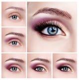 Colagem dos olhos fêmeas com etapas da composição Foto de Stock