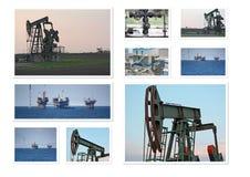 Colagem dos poços de petróleo foto de stock