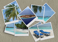 Colagem dos Polaroids na areia Fotografia de Stock Royalty Free