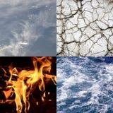 Colagem dos quatro elementos da natureza Foto de Stock Royalty Free