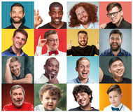 A colagem dos retratos das mulheres com expressão facial de sorriso foto de stock royalty free