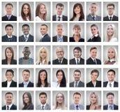 Colagem dos retratos de homens de negócios novos bem sucedidos imagens de stock