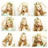 Colagem dos retratos de uma jovem mulher bonita com coroa imagens de stock
